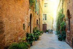 Old Mediterranean town - narrow street with flowers Stock Image