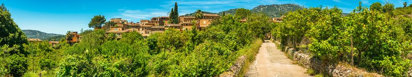 Spain Majorca, mediterranean village landscape panorama of Fornalutx royalty free stock photos