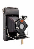 Old medium format camera vintage isolated on a white background. Bellows camera on medium format built in the early 1920s stock photography
