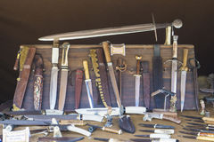 Old medival knifes. Knifes on the medival festival in Provins France Royalty Free Stock Photography