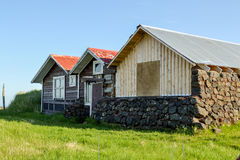 Old meets New. Former housing for fishermen in the early 1900´s but now used for leisure and  summer vacation Royalty Free Stock Image