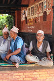 The old  men in  bhaktapur durbar square , nepal Stock Image