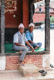 The old  men in  bhaktapur durbar square , nepal Royalty Free Stock Photo