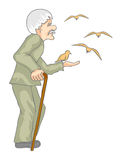 Old men with birds. Illustration of old men which is feeding a birds Stock Image