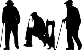 Old men with cane silhouettes