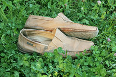 Old men's suede moccasins Royalty Free Stock Photos