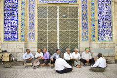 Old men socializing in yazd iran Royalty Free Stock Photography