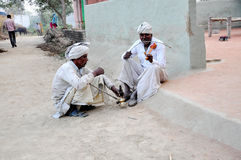 Old Men. Some people sitting and singing songs in a village of India Stock Photo