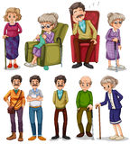 Old men and women in different actions Stock Images