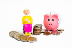 Old men, women. Money, dollars, saving money, to save money to the old age Stock Photos