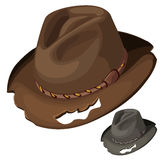 Old mens brown hat with holes. Vector isolated Royalty Free Stock Photo