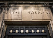 Old Mental Hospital Sign stock photo