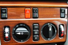 Old Mercedes climate control buttons and regulators Royalty Free Stock Photography