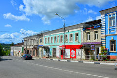 Old merchant houses in historical center of Ruza city, Moscow region, Russia Stock Images