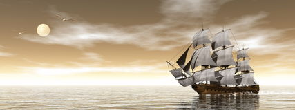 Old merchant ship - 3D render Stock Photography