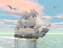 Old merchant ship - 3D render Royalty Free Stock Image