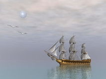 Old merchant ship - 3D render Royalty Free Stock Photography