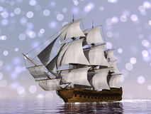 Old merchant ship - 3D render Stock Photos
