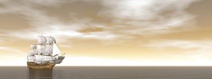 Old merchant ship - 3D render Stock Image