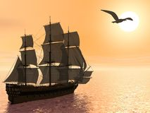 Old merchant ship - 3D render Royalty Free Stock Images