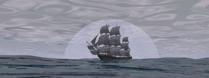 Old merchant ship - 3D render. Old merchant ship in front of the moon on the ocean by cloudy day - 3D render stock illustration
