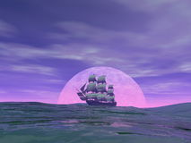 Old merchant ship - 3D render. Old merchant ship in front of the moon on the ocean by cloudy sunset - 3D render vector illustration