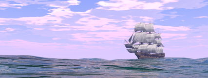 Old merchant ship - 3D render. Old merchant ship on the ocean by day - 3D render stock illustration
