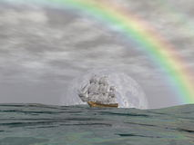 Old merchant ship - 3D render. Old merchant ship under the rainbow on the ocean by cloudy day - 3D render Stock Images