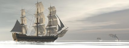 Old merchant ship and dolphins - 3D render Stock Photo