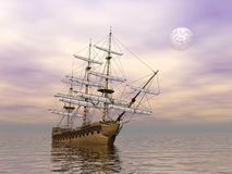 Old merchant ship - 3D render Royalty Free Stock Photo