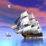 Old merchant ships - 3D render Stock Image