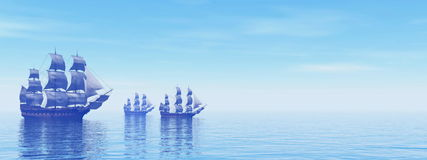 Old merchant ships - 3D Render Royalty Free Stock Photo