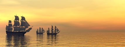 Old merchant ships - 3D Render Royalty Free Stock Image