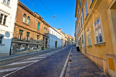 Old Mesnicka street in Zagreb upper town. Capital of Croatia Stock Photography