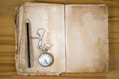 Old Message Book with feather royalty free stock photos