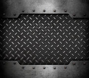 Metal plate background with rivets 3d illustration. Old metal armour plate background with rivets Stock Image