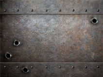 Old metal background with bullet holes Stock Images