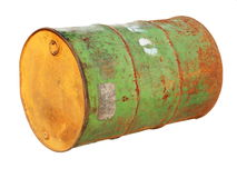 Old metal barrel oil isolated on white background Royalty Free Stock Images