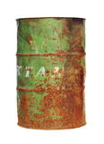 Old metal barrel oil isolated on white background Royalty Free Stock Photography