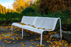 Old metal bench in autumn Royalty Free Stock Image