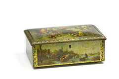 Old metal box. With decorations and crackle Stock Images