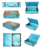 Old metal box. Set of old metal box isolated on white background Stock Image