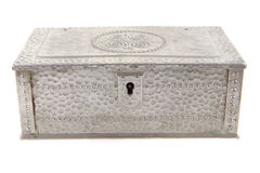 Old metal box. Isolated on the white background Royalty Free Stock Photo
