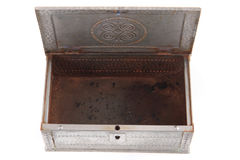 Old metal box. Isolated on the white background Stock Photography