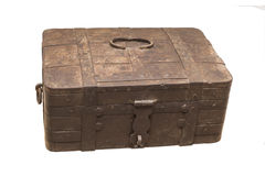 Old metal box of the 19th century. Is isolated on white Stock Images