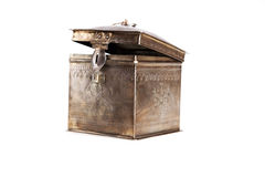Old metal box on white Stock Images