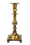 Old Metal Brass Candlestick Isolate on White Stock Image