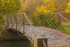 Old metal bridge in autumn park. Metal bridge across small river in autumn park Royalty Free Stock Photo