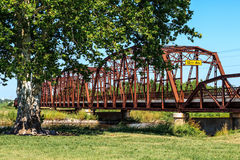 Old Metal Bridge. That crosses part of lake Overholster and runs along Route 66 in Oklahoma City Stock Image