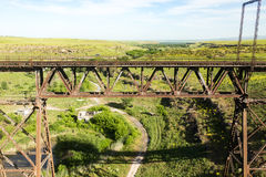 Old metal bridge with a railway Royalty Free Stock Image